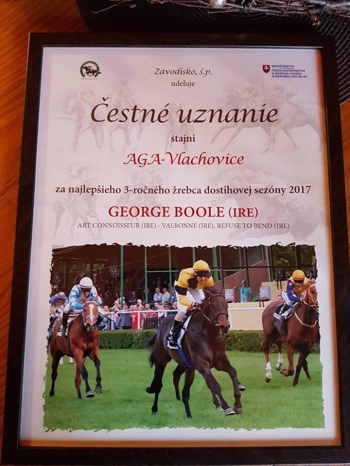 GEORGE BOOLE nejlepší tříletý hřebec na Slovensku